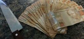 Formiga: suspeito de roubo é preso com faca e R$ 2.250 em dinheiro