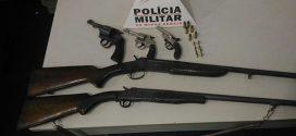 Cláudio: três presos com cinco armas e munições durante Operação Batida Policial