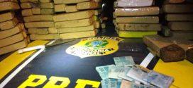 PRF apreende 100kg de maconha e quase R$10 mil no Sul de MG